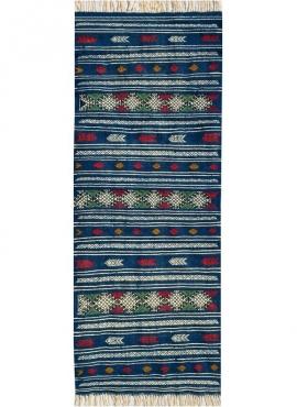 Tapis berbère Tapis Kilim long Massoud 70x180 Bleu (Tissé main, Laine, Tunisie) Tapis kilim tunisien style tapis marocain. Tapis