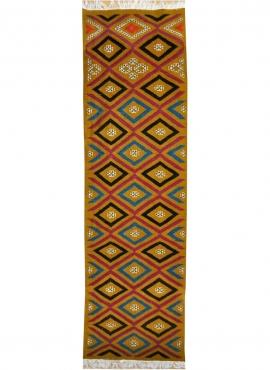 Tapis berbère Tapis Kilim long Ajim 65x215 Jaune ocre (Tissé main, Laine, Tunisie) Tapis kilim tunisien style tapis marocain. Ta