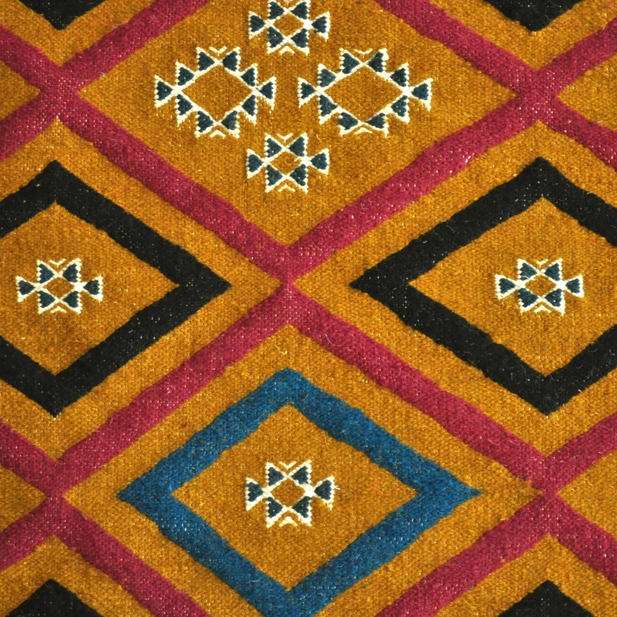 Berber carpet Rug Kilim long Ajim 65x215 Yellow (Handmade, Wool, Tunisia) Tunisian Rug Kilim style Moroccan rug. Rectangular car