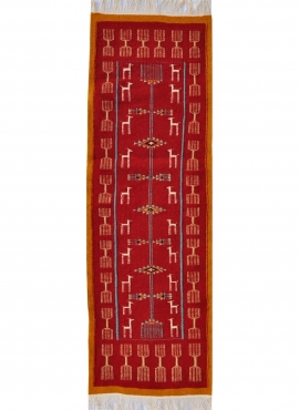 Berber tapijt Tapijt Kilim lang Bourdguen 65x195 Rood (Handgeweven, Wol, Tunesië) Tunesisch kilimdeken, Marokkaanse stijl. Recht