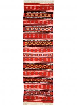 Tapis berbère Tapis Kilim long Babmnara 60x200 Rouge (Tissé main, Laine, Tunisie) Tapis kilim tunisien style tapis marocain. Tap