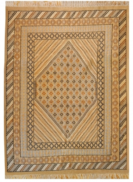 Berber carpet Large Rug Margoum Zouhour 197x295 Beige (Handmade, Wool, Tunisia) Tunisian margoum rug from the city of Kairouan.