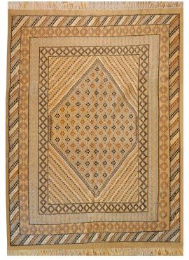 tappeto berbero Grande Tappeto Margoum Zouhour 197x295 Beige (Fatto a mano, Lana, Tunisia) Tappeto margoum tunisino della città