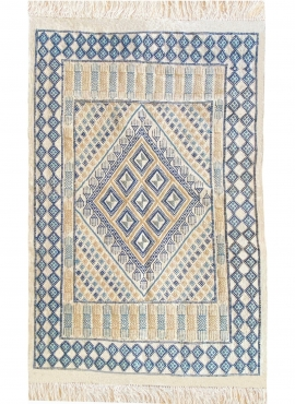 Tapete berbere Tapete Margoum Alfatha 120x190 Azul/Branco (Artesanal, Lã, Tunísia) Tapete Margoum tunisino da cidade de Kairouan
