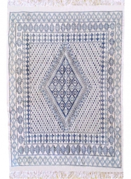 Berber carpet Large Rug Margoum Chikly 163x242 Blue/White (Handmade, Wool, Tunisia)