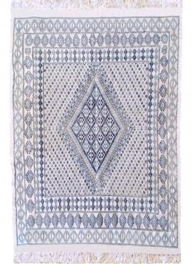 Tapis berbère Grand Tapis Margoum Chikly 163x242 Bleu Blanc (Fait main, Laine, Tunisie) Tapis margoum tunisien de la ville de Ka