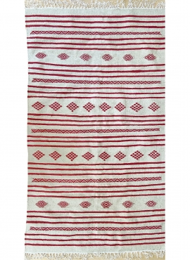 Berber tapijt Tapijt Kilim Fartouna 110x198 Wit Rood (Handgeweven, Wol, Tunesië) Tunesisch kilimdeken, Marokkaanse stijl. Rechth