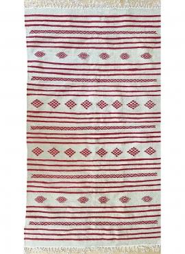 tappeto berbero Tappeto Kilim Fartouna 110x198 Bianco Rosso (Fatto a mano, Lana, Tunisia) Tappeto kilim tunisino, in stile maroc