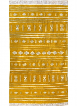 Berber tapijt Tapijt Kilim Jridi 96x193 Geel/Wit (Handgeweven, Wol, Tunesië) Tunesisch kilimdeken, Marokkaanse stijl. Rechthoeki