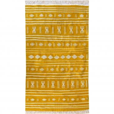 Berber Teppich Teppich Kelim Jridi 96x193 Gelb/Weiß (Handgewebt, Wolle, Tunesien) Tunesischer Kelim-Teppich im marokkanischen St
