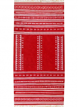 Berber carpet Rug Kilim Nassen 105x208 Red (Handmade, Wool, Tunisia) Tunisian Rug Kilim style Moroccan rug. Rectangular carpet 1