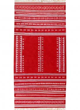 Berber Teppich Teppich Kelim Nassen 105x208 Rot (Handgewebt, Wolle, Tunesien) Tunesischer Kelim-Teppich im marokkanischen Stil.