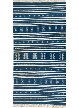 Tapis berbère Tapis Kilim Sahline 135x256 Bleu/Blanc (Tissé main, Laine) Tapis kilim tunisien style tapis marocain. Tapis rectan