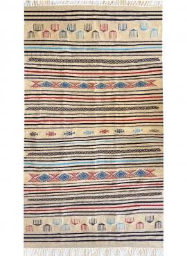 Berber tapijt Tapijt Kilim Saïd 138x237 Beige/Wit (Handgeweven, Wol, Tunesië) Tunesisch kilimdeken, Marokkaanse stijl. Rechthoek
