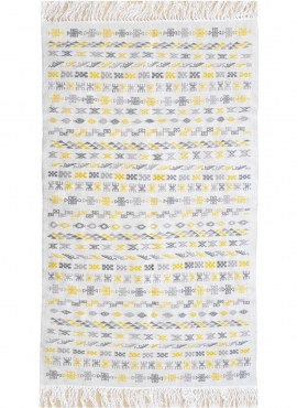 Berber Teppich Teppich Kelim 121x200 Weiß Gelb Grau | Handgewebt, Wolle, Tunesien Tunesischer Kelim-Teppich im marokkanischen St