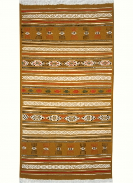 Berber carpet Rug Kilim Lamta 100x200 Yellow (Handmade, Wool, Tunisia) Tunisian Rug Kilim style Moroccan rug. Rectangular carpet