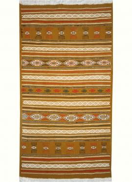 Tapis berbère Tapis Kilim Lamta 100x200 Jaune ocre (Tissé main, Laine, Tunisie) Tapis kilim tunisien style tapis marocain. Tapis