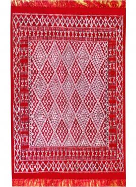 Alfombra bereber Alfombra Margoum Daoui 125x190 Rojo (Hecho a mano, Lana) Alfombra margoum tunecina de la ciudad de Kairouan. Al