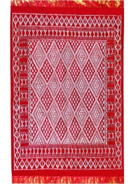 Tapete berbere Tapete Margoum Daoui 125x190 Vermelho (Artesanal, Lã) Tapete Margoum tunisino da cidade de Kairouan. Tapete retan