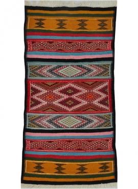 Tapete berbere Tapete Kilim Birssa 53x105 Multicor (Tecidos à mão, Lã) Tapete tunisiano kilim, estilo marroquino. Tapete retangu