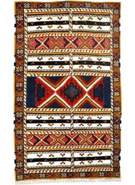 Tapete berbere Tapete Glaoui 152x250 Vermelho/Azul (Tecidos à mão, Lã, Tunísia) Tapete tunisiano kilim, estilo marroquino. Tapet