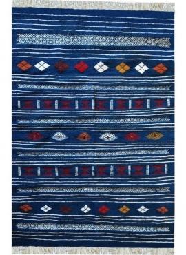 Berber Teppich Teppich Kelim Aljanoub 96x140 Blau (Handgewebt, Wolle, Tunesien) Tunesischer Kelim-Teppich im marokkanischen Stil