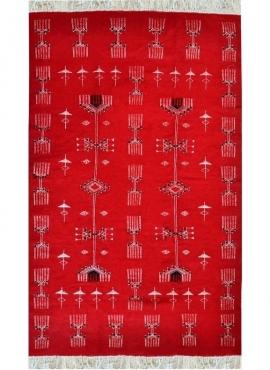Berber Teppich Teppich Kelim El Galaa 105x175 Rot (Handgewebt, Wolle, Tunesien) Tunesischer Kelim-Teppich im marokkanischen Stil