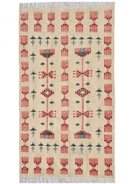 Berber tapijt Tapijt Kilim Joudi100x175 Grijs/Zwart/Rood (Handgeweven, Wol, Tunesië) Tunesisch kilimdeken, Marokkaanse stijl. Re