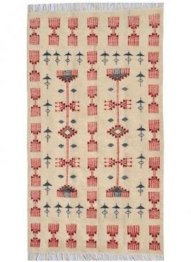 Berber Teppich Teppich Kelim Joudi100x175 Grau/Schwarz/Rot (Handgewebt, Wolle) Tunesischer Kelim-Teppich im marokkanischen Stil.