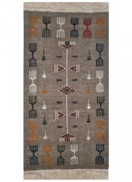tappeto berbero Tappeto Kilim Messadine 55x105 Grigio/Rosso/Blu/Giallo (Fatto a mano, Lana) Tappeto kilim tunisino, in stile mar