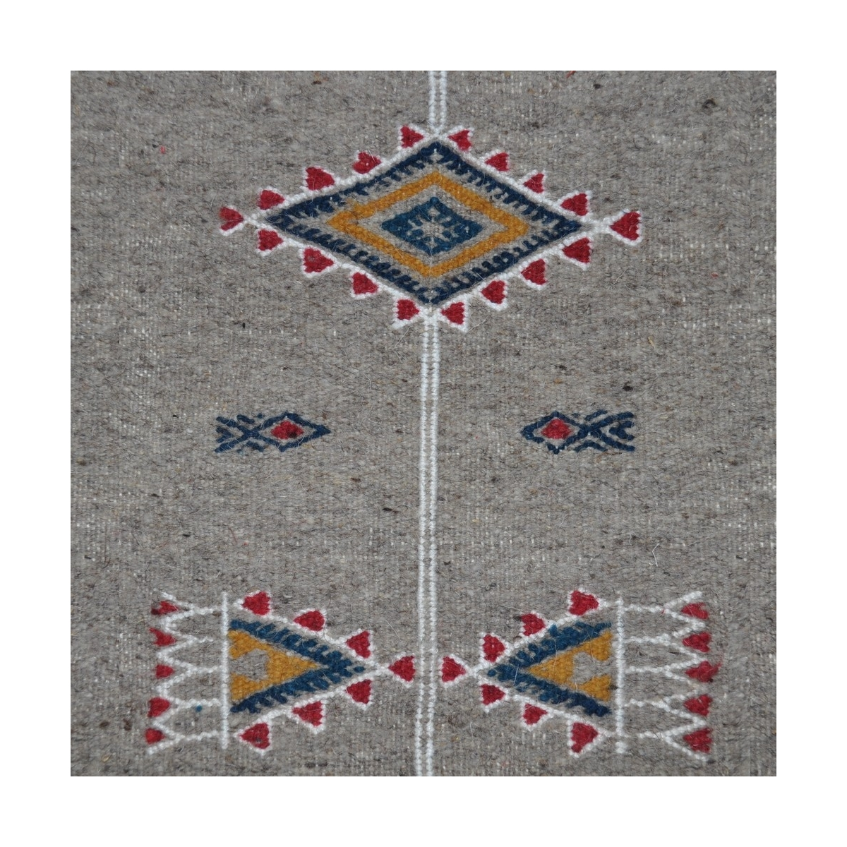 Berber carpet Rug Kilim Messadine 55x105 Grey/Red/Blue/Yellow (Handmade, Wool) Tunisian Rug Kilim style Moroccan rug. Rectangula