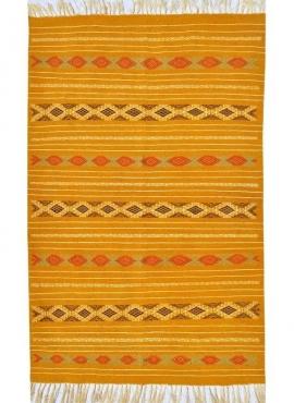 tappeto berbero Tappeto Kilim Fahs 100x150 Giallo/Bianco (Fatto a mano, Lana) Tappeto kilim tunisino, in stile marocchino. Tappe