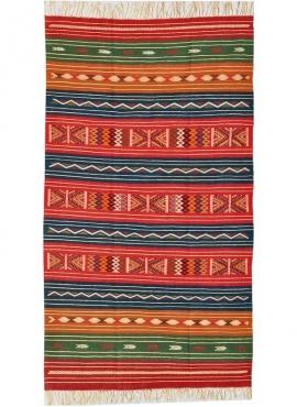 Tapis berbère Tapis Kilim Mateur 115x200 Multicolore (Tissé main, Laine) Tapis kilim tunisien style tapis marocain. Tapis rectan
