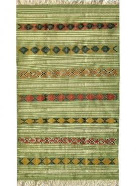 Tapete berbere Tapete Kilim Gammarth 120x200 Verde (Tecidos à mão, Lã) Tapete tunisiano kilim, estilo marroquino. Tapete retangu