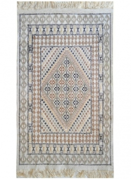 Berber carpet Rug Margoum Khaznadar 115x195 White (Handmade, Wool, Tunisia) Tunisian margoum rug from the city of Kairouan. Rect