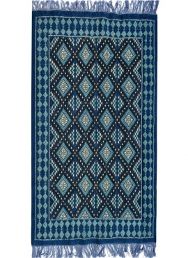 Alfombra bereber Alfombra Margoum Zriba 120x200 Azul/Blanco (Hecho a mano, Lana, Túnez) Alfombra margoum tunecina de la ciudad d