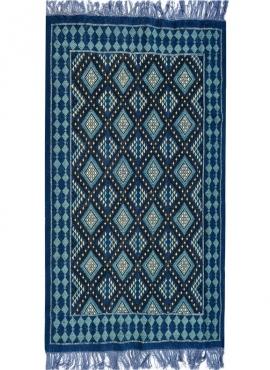Tapis berbère Tapis Margoum Zriba 120x200 Bleu/Blanc (Fait main, Laine, Tunisie) Tapis margoum tunisien de la ville de Kairouan.
