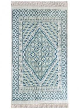 Tapis berbère Grand Tapis Margoum Zembretta 115x200 Bleu Blanc (Fait main, Laine, Tunisie) Tapis margoum tunisien de la ville de