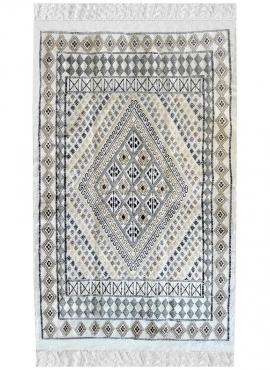 Alfombra bereber Alfombra Margoum Mellita115x180 Blanco (Hecho a mano, Lana, Túnez) Alfombra margoum tunecina de la ciudad de Ka