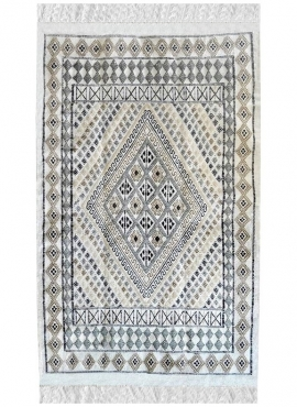 Berber carpet Rug Margoum Mellita115x180 White (Handmade, Wool, Tunisia) Tunisian margoum rug from the city of Kairouan. Rectang