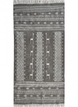 Berber carpet Rug Kilim Hassi Amor 130x190 Grey/Black/White (Handmade, Wool) Tunisian Rug Kilim style Moroccan rug. Rectangular