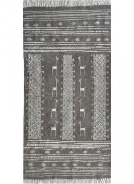 Tapis berbère Tapis Kilim Hassi Amor 130x190 Gris/Noir/Blanc (Tissé main, Laine) Tapis kilim tunisien style tapis marocain. Tapi