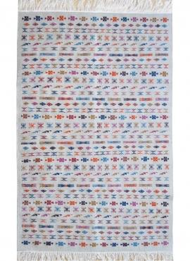 Berber Teppich Teppich Kilim Salha 140x200 Weiss/Mehrfarbig (Handgefertigt, Wolle, Tunesien) Tunesischer Kilim-Teppich aus der S