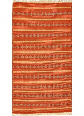 Berber tapijt Tapijt Kilim El Mida 135x245 Oranje/Blauw (Handgeweven, Wol, Tunesië) Tunesisch kilimdeken, Marokkaanse stijl. Rec