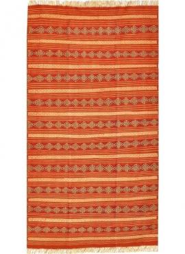 Berber Teppich Teppich Kelim El Mida 135x245 Orange/Blau (Handgewebt, Wolle) Tunesischer Kelim-Teppich im marokkanischen Stil. R