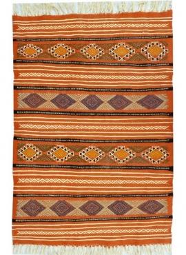 Alfombra bereber Alfombra Kilim Beskra 60x100 Multicolor (Hecho a mano, Lana, Túnez) Alfombra kilim tunecina, estilo marroquí. A