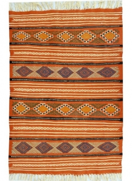 Berber Teppich Teppich Kelim Beskra 60x100 Mehrfarben (Handgewebt, Wolle, Tunesien) Tunesischer Kelim-Teppich im marokkanischen