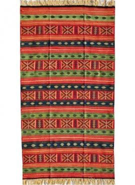 Alfombra bereber Alfombra Kilim Babjdid 140x250 Amarillo/Multicolor (Hecho a mano, Lana) Alfombra kilim tunecina, estilo marroqu