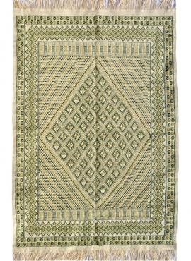Tapete berbere Grande Tapete Margoum Nebtaa 160x245 Branco/Verde (Artesanal, Lã, Tunísia) Tapete Margoum tunisino da cidade de K