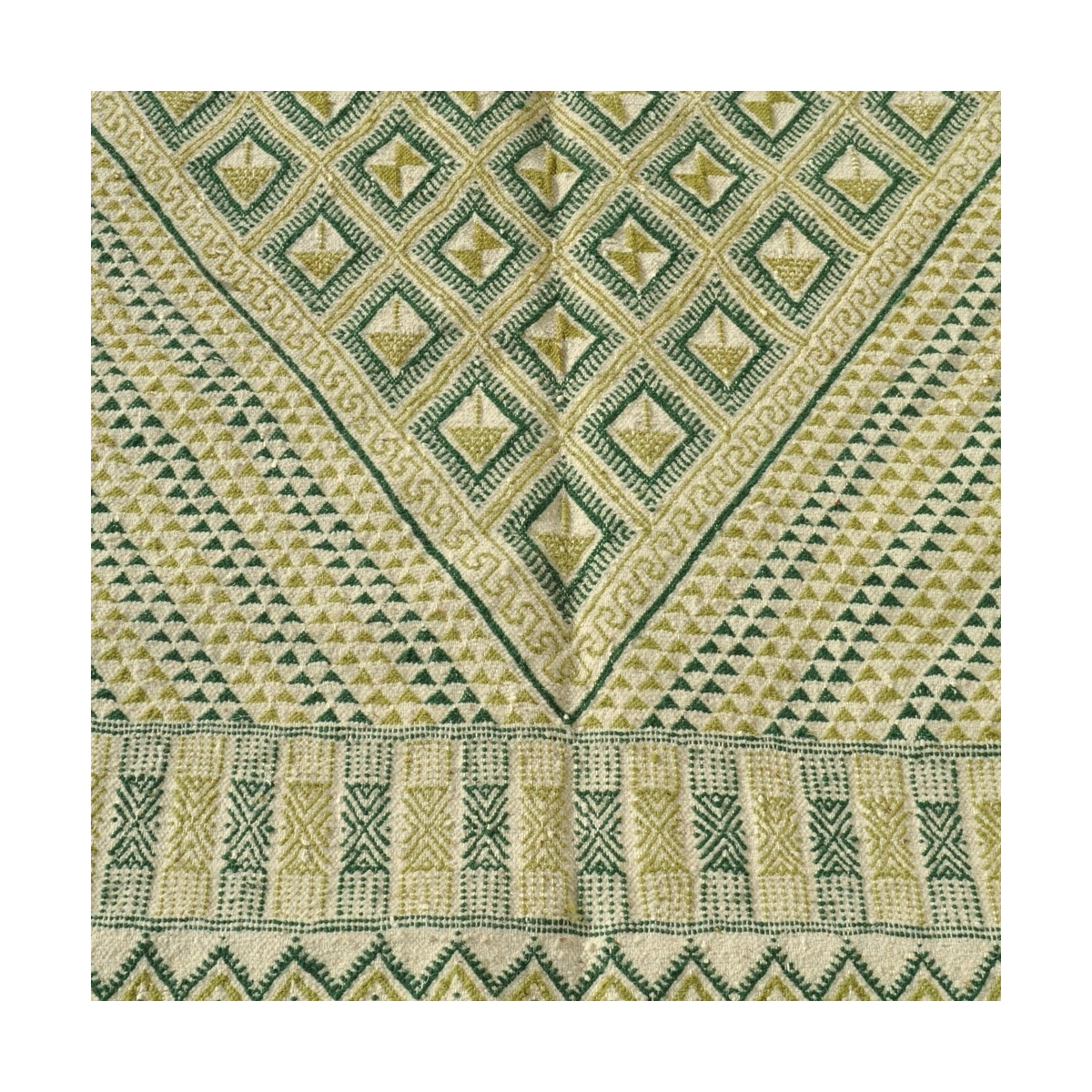 Berber carpet Large Rug Margoum Nebtaa 160x245 White/Green (Handmade, Wool, Tunisia) Tunisian margoum rug from the city of Kairo